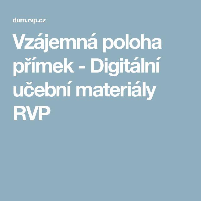 Vzájemná poloha přímek - Digitální učební materiály RVP