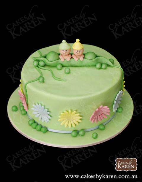 Two Peas in a Pod by Cakes by Karen. Would make a great baby shower cake for twins!