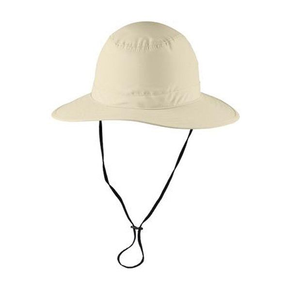 Port Authority Lifestyle Brim Hat. With UPF 30+ sun protection, a moisture-wicking sweatband and a durable water-repellent (DWR) finish, this hat is perfect for golfing, lounging on the beach, watching outdoor events and more. Fabric: 100% polyester microfiber Structure: Unstructured Features: Fixed, adjustable shock cord