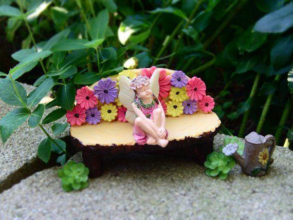 Miniature Dollhouse FAIRY GARDEN Figurine ~ Mini Unicorn with Pink Girl ~ NEW