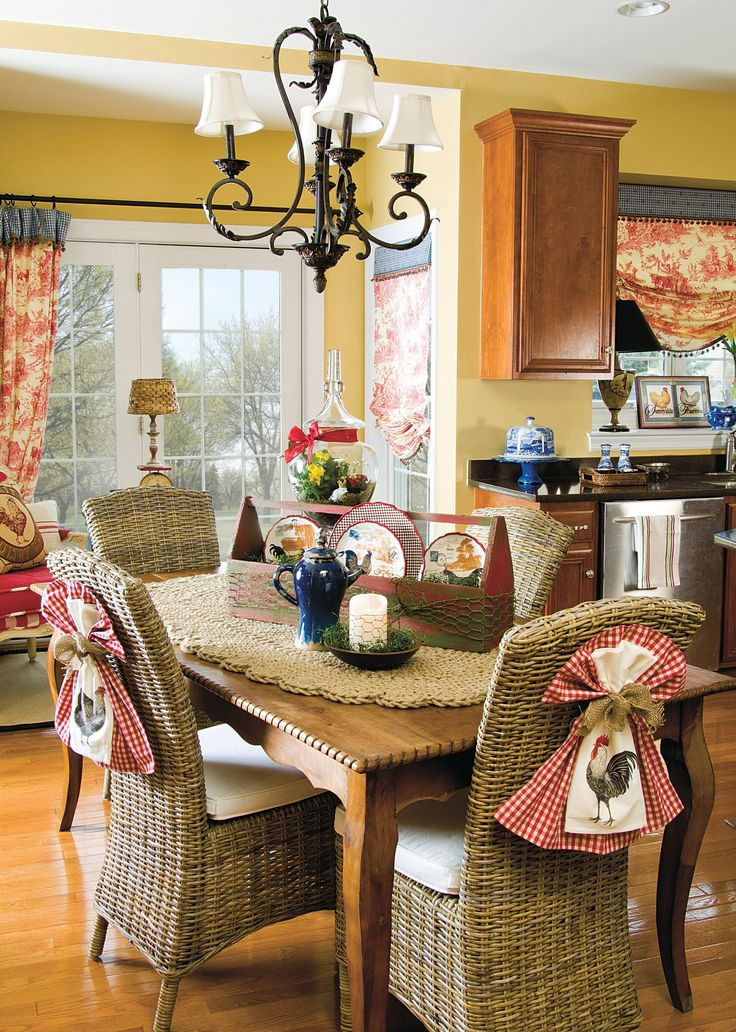 Lighten your kitchen with vibrant hues and toile.