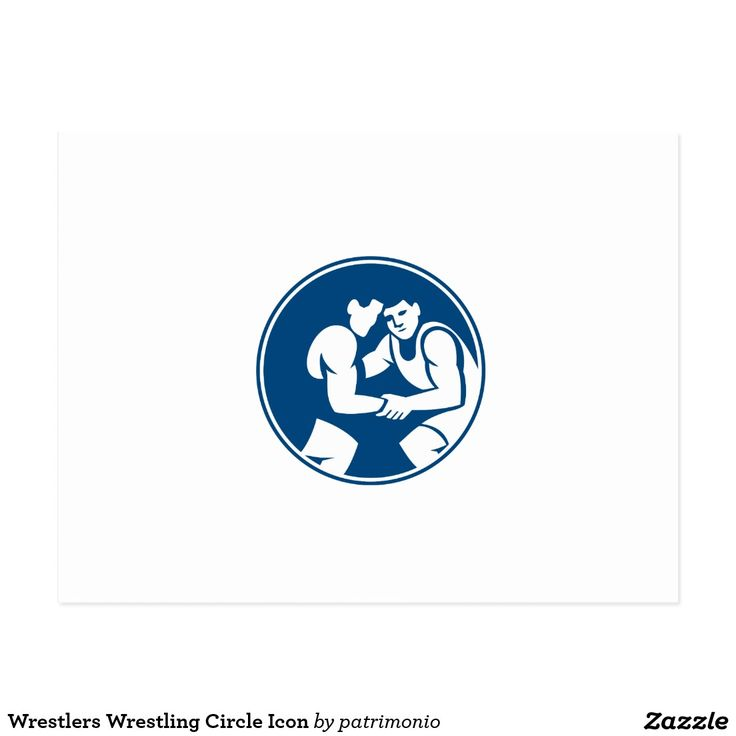 Wrestlers Wrestling Circle Icon Postcard. Icon illustration of wrestlers wrestling set inside circle on isolated background done in retro style. #wrestling #olympics #sports #summergames #rio2016 #olympics2016