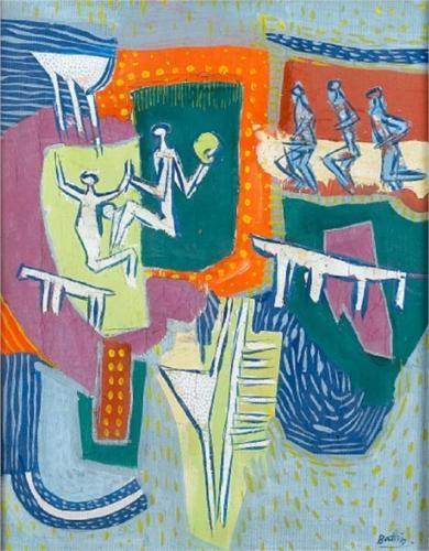 Walter Battiss (1906 - 1982) | Art Brut | Abstract figures