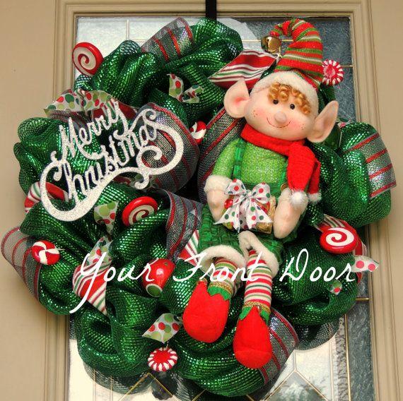 Elf Wreath  Christmas Elf Wreath  Merry by YourFrontDoorAR on Etsy, $100.00