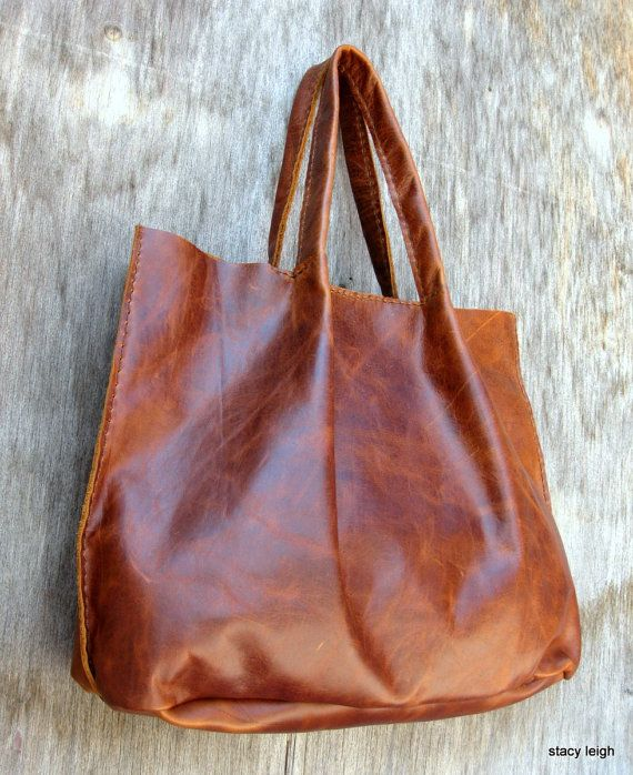Soft Slouchy Dark Brown Leather Tote Bag Made to by stacyleigh