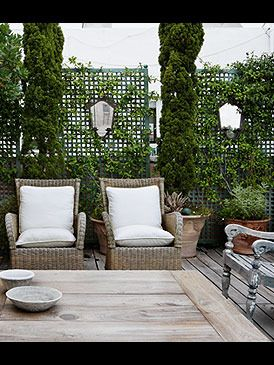 .Trellis screens with cut outs are very attractive and functional... could use a couple near terrace and repeat at lower barn