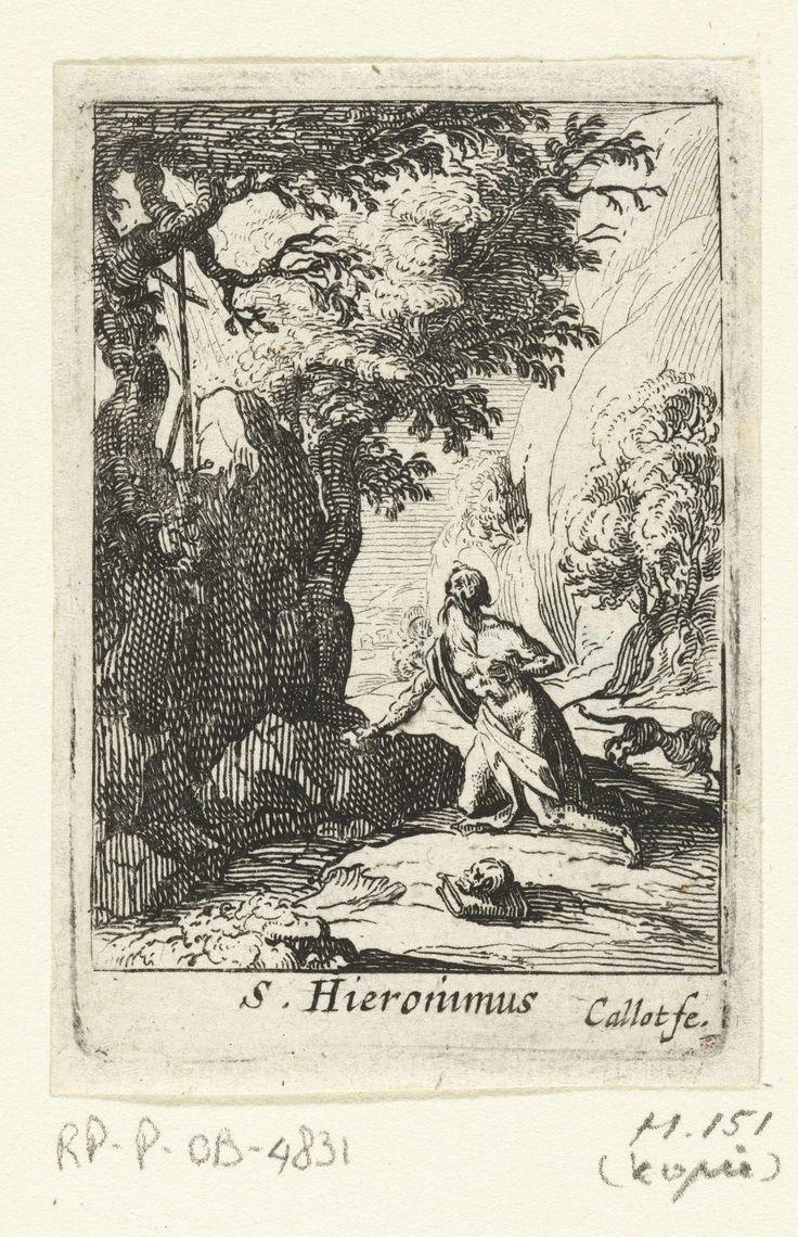 Anonymous | De boetvaardige Hiëronymus, Anonymous, 1632 - 1699 | In een rotsachtige omgeving zit Hiëronymus op zijn knieën bij een kruis met een steen in zijn hand. Achter hem springt een leeuw weg. Onder de voorstelling een onderschrift in Latijn. Deze prent is onderdeel van een serie van vijf prenten van boetvaardige heiligen.