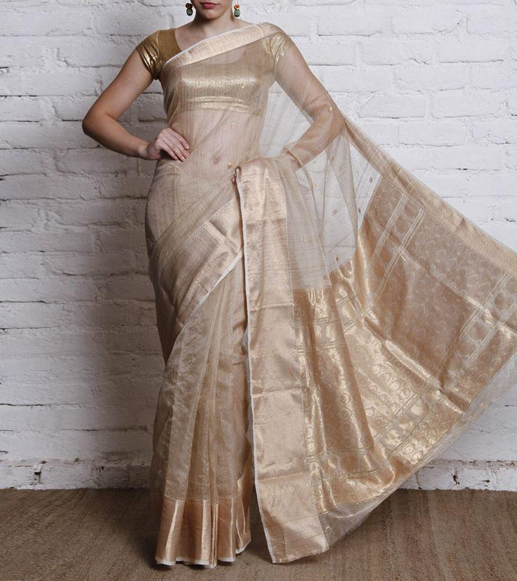 Ivory Handwoven Tussar Silk Saree
