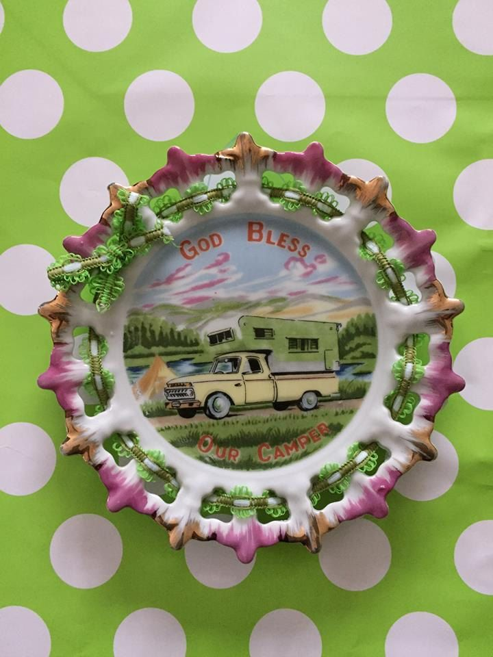 """Vintage Camper Decor, God Bless Our Camper, 7.25"""" Plate, Bone China, Japan, 1960, Yellow Truck, Souvenir Plate, Kitchy Plate, Retro Camping by TheGreenPaintedClock on Etsy"""