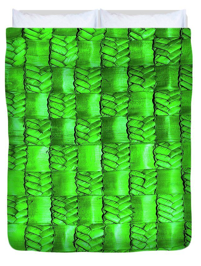 Weaving Duvet Cover featuring the photograph Weaving Flax - Royal Emerald by Wairua o te Moana