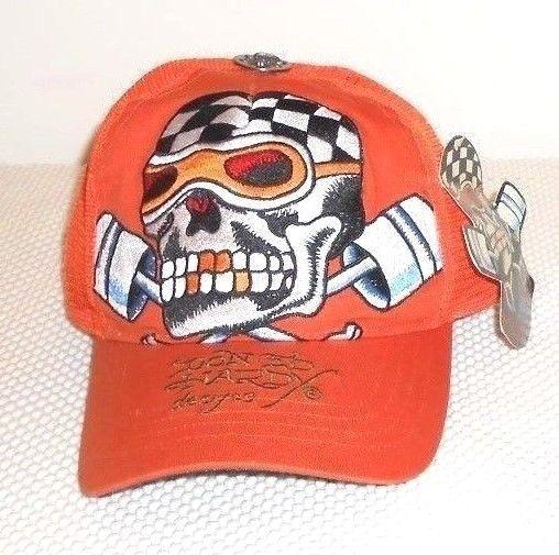 New Don Ed Hardy Rare Orange Speed Kills Trucker Snap Back Hat  #EdHardy