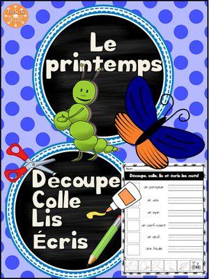 Le printemps - découpe et colle from French Buzz on TeachersNotebook.com -  (5 pages)  - Le printemps découpe colle activité imprimable vocabulaire centre de littératie lecture amusant french français Spring