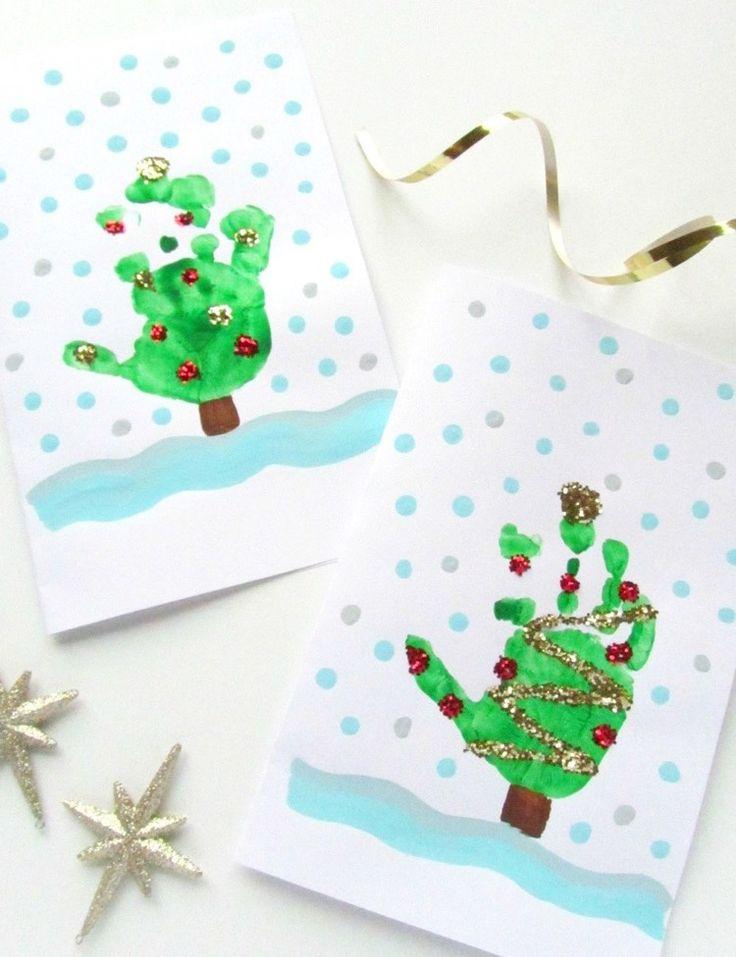 handabdruck-bilder-kinder-weihnachten-grusskarten-tannenbaum-glitzer