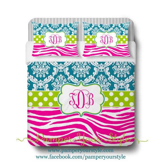 Damask and Zebra Comforter or Duvet - Teal, Hot Pink and Lime Green Bedding - Personalize with Name or Monogram - Create My Own Bedding