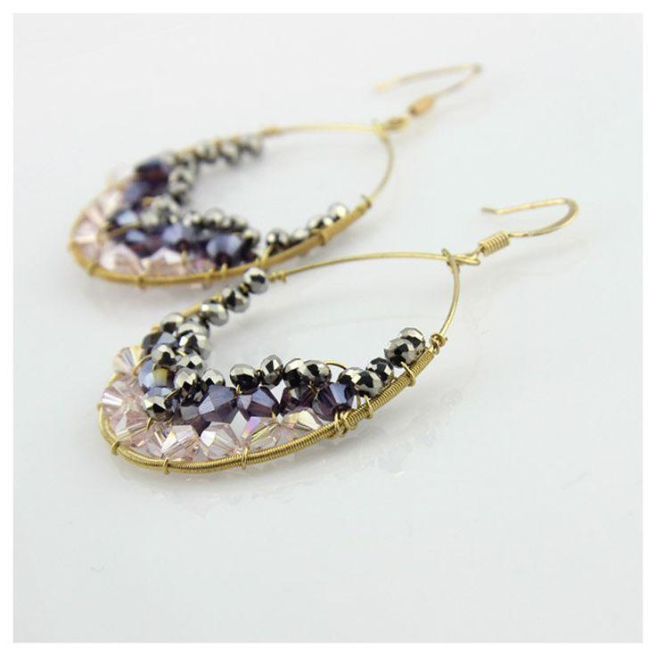 Swarovski Crystal Earrings Round Earrings by EchosHealingStones