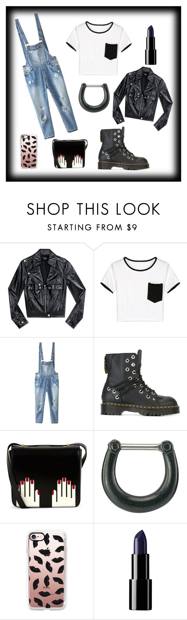 """""""Back in Black"""" by mary-sukala ❤ liked on Polyvore featuring Bebe, WithChic, Relaxfeel, Dr. Martens, Lulu Guinness, Target, Casetify, grunge and fashionset"""