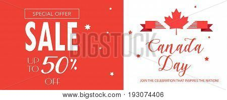 Sale banner for Happy Canada Day! Gift card, voucher, poster, placard, with maple leaf logo, red color of the Canadian flag, lettering. Sales Canada day banner, Holiday, celebration, vector illustration template. Sale gift card, Marketing. Minimal design.