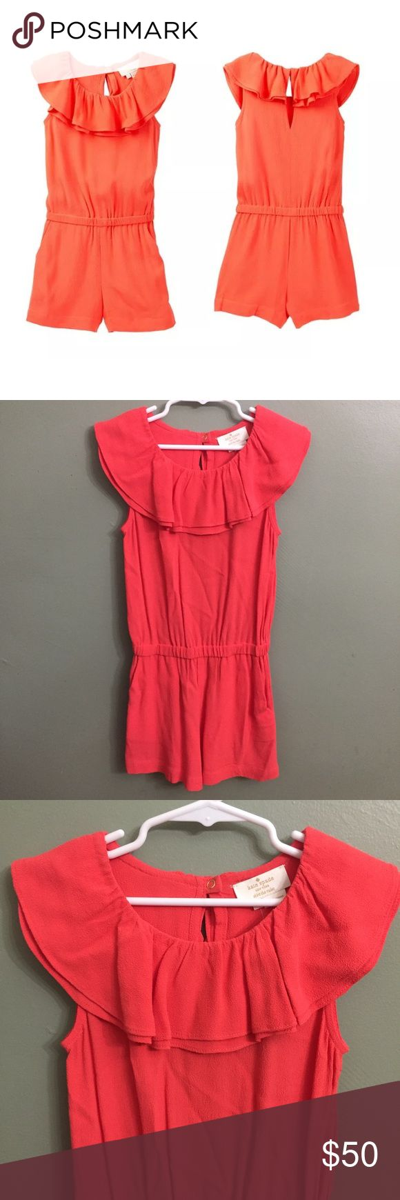 NWT Kate Spade Orange Avery Romper, 7 Kate Spade 100% AUTHENTIC NEW with tags attached White strappy sandals and sunnies can complete this look for your tiny fashionista. - Double ruffle scoop neck - Sleeveless - Back keyhole with snap closure - Elasticized waist - Dual front side pockets - Crepe texture kate spade Shirts & Tops