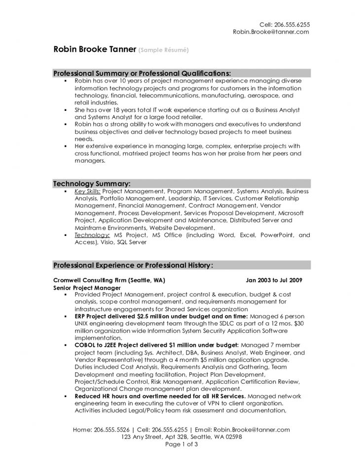 project manager resume sample template construction management jobs senior technology samples