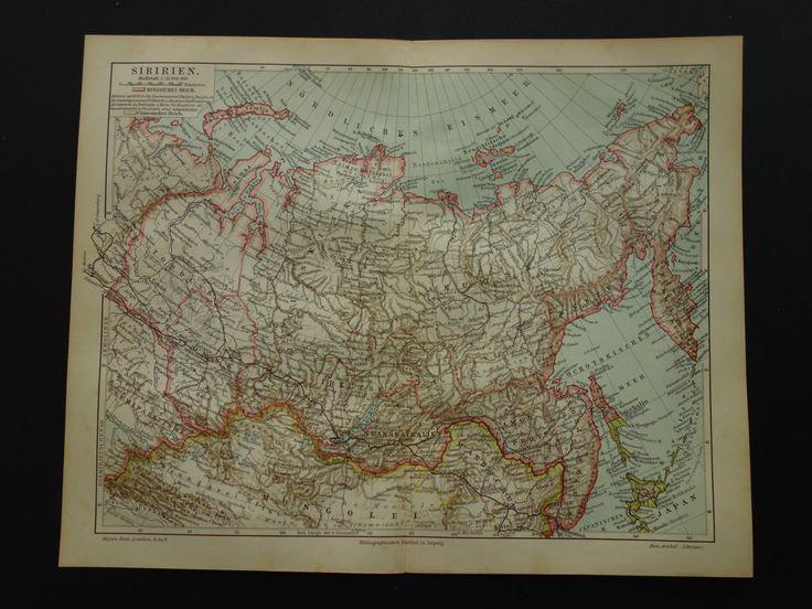 "Antique German map of Siberia - Original 1909 print east Russia - Karte Siberien Сибирь Sibérie Sachalin Baikal Nova Zembla 24,5x30c 10x12"" by DecorativePrints on Etsy"