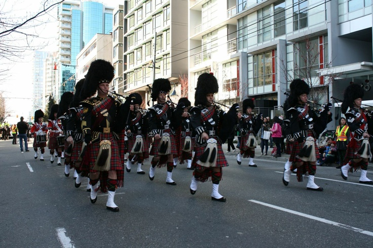 The VPD Pipe Band marching in Vancouver's annual St. Patrick's Day Parade.