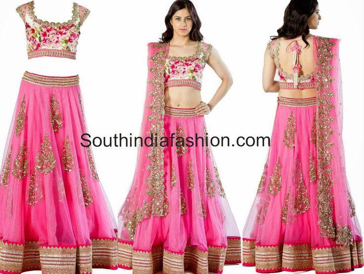 floral pink lengha blouse