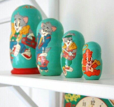 Tom & Jerry -  matruska-dukker - retrokupp fra Fretex