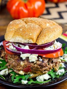 Sun Dried Tomato and Gorgonzola Burgers | The tastiest toppings for the tastiest burger recipe for summer.