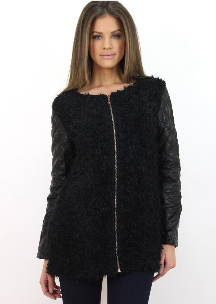 Black shearling coat for a casual outfit...:) Available at www.famevogue.ro.   #coat #shearling #style #fashion #trends
