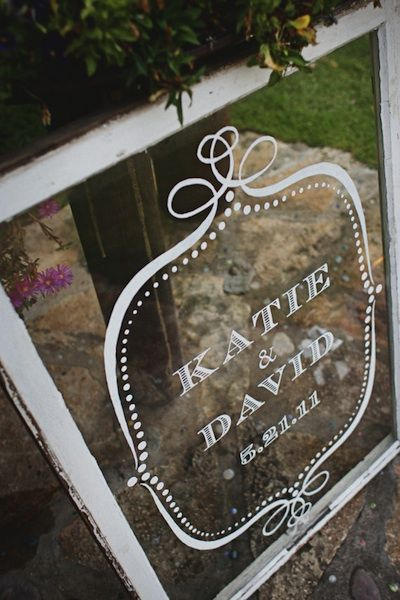 Old Windows as Wedding Decor