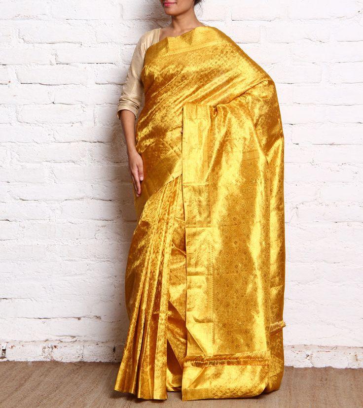 Gold Pure Silk Handloom Saree