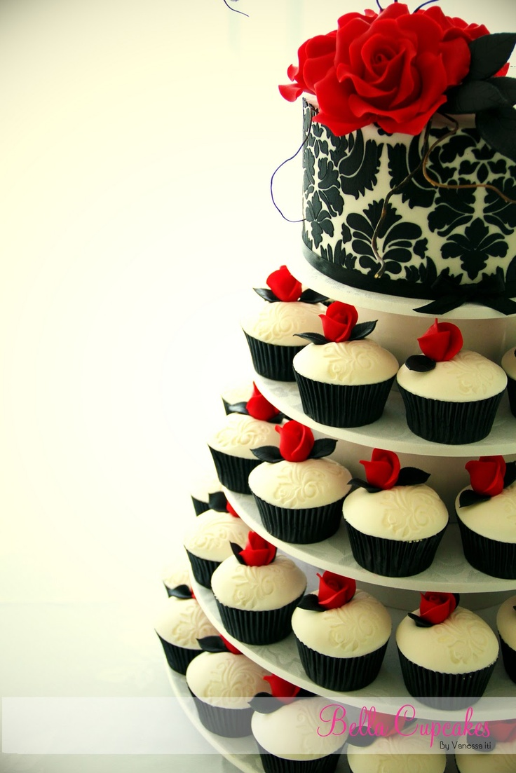 Find This Pin And More On Birthday Parties Showers Weddings Celebrations Ect Black White Red Wedding Cupcake