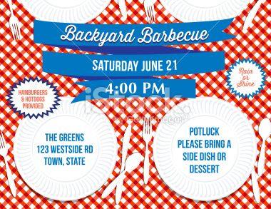 Backyard BBQ Paper Plate Picnic Table Invitation Template Royalty Free  Stock Vector Art Illustration