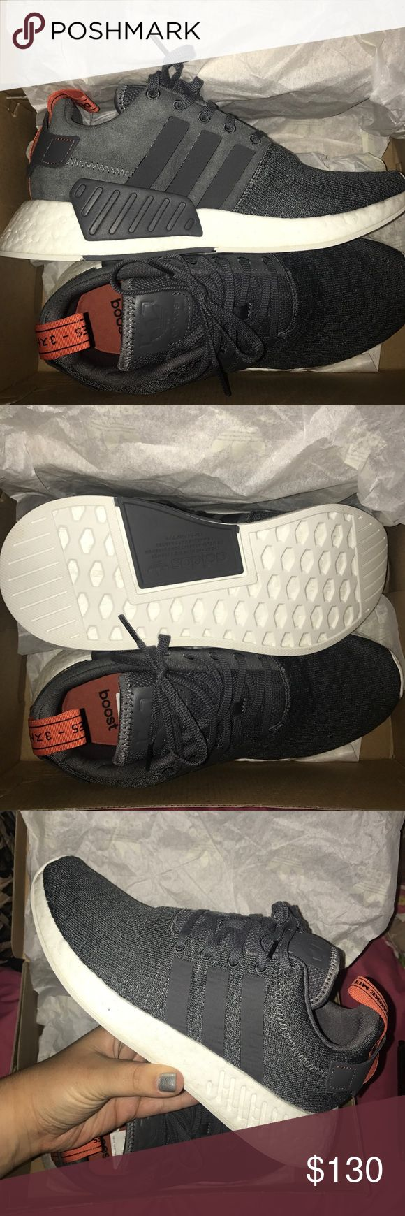 NMD R2 grey & burnt orange adidas Adidas Boost shoes are infamous for being the most comfy, like, ever. It's like walking on clouds, or marshmallows, or clouds made of marshmallows. They have a generous width & come in a cool color for fall 😎 Jump on it! adidas Shoes Athletic Shoes