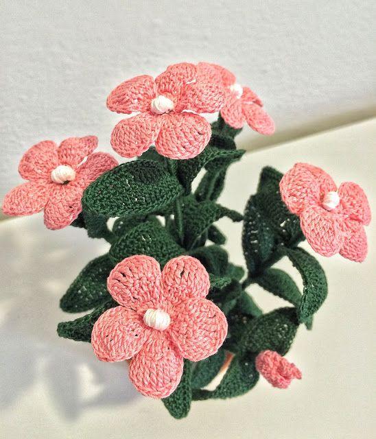 Il Blog di Sam: Spiegazione del fiore di vetro(Impatiens) all'uncinetto