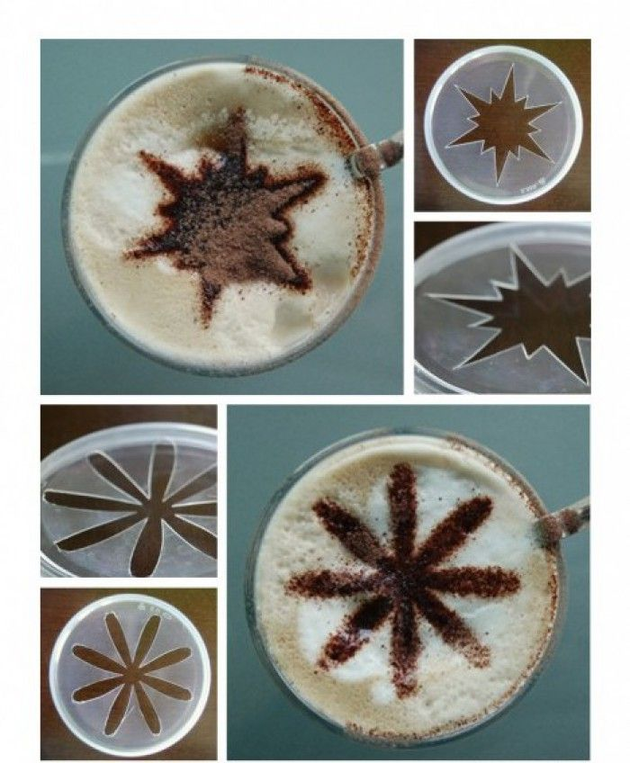 Koffie stencils voor de capuccino ... gemaakt van PRINGLES (chips )  deksels ... ....super leuk en goedkoop ....