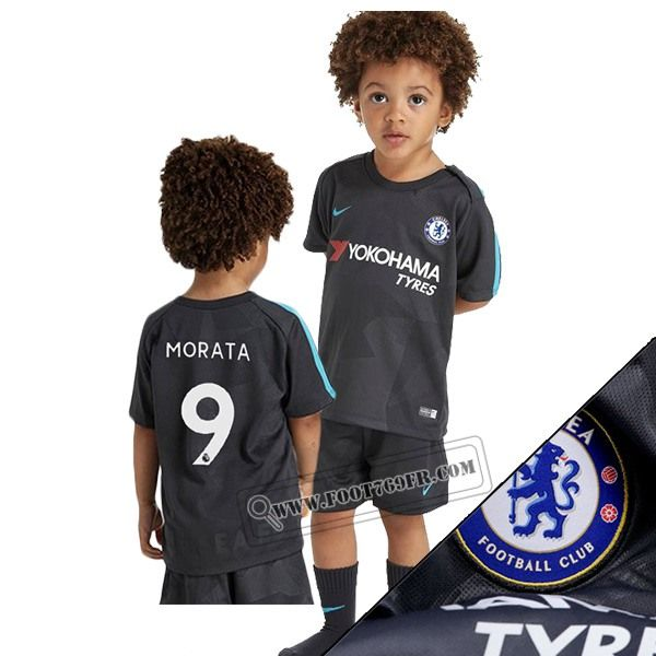 Promotion: Magasins Foot769fr Ensemble Flocage Maillot De FC Chelsea (Morata 9) Enfant Third Gris Camouflage 2017-2018 Thailande Nouveau