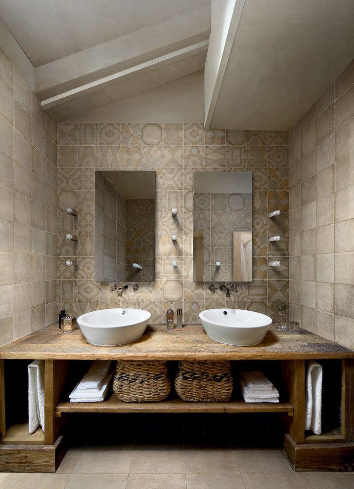 Rustic Bathroom Vanities Bathroom Contemporary with Bathroom Beige Wall Double
