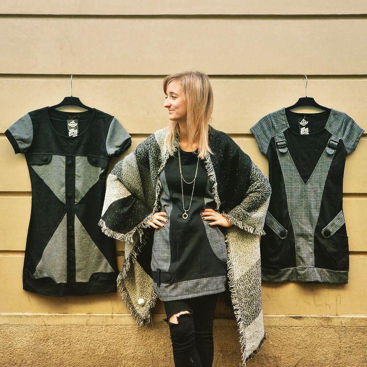 Op-art is the top art 🔳 geometry winter dress szputnyikshop monochrome black grey tweed