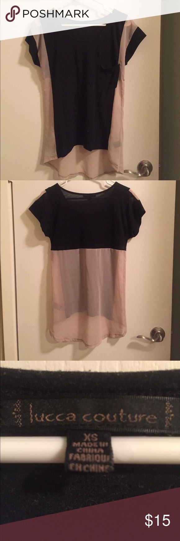 Black and beige short sleeve top Black and beige scoopneck top. Black part is cotton and beige part is sheer, and has one pocket Forever 21 Tops Tees - Short Sleeve