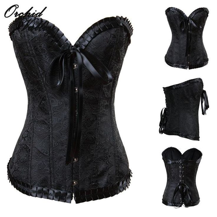 Vintage Sexy Steel Bone Gothicw/Ribbon Accent Waist Training Corset 4 Colors S-2XL