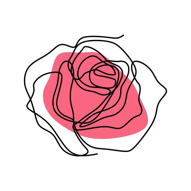 Desenho De Flor De Rosa Vetor Linha Continua Arte Background