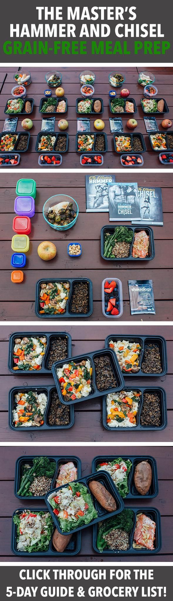 The Master's Hammer and Chisel Grain-Free Meal Prep -- This week's meal prep is inspired by the grain-free menu within the Master's Hammer & Chisel nutrition guide. This plan falls into the 1,500-1,799 calorie range. // meal prep monday // nutrition // healthy eating // eat clean // beachbody // beachbody blog