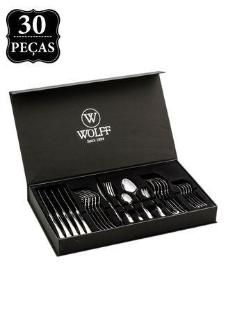 Faqueiro Wolff Berna Prata, composto por 6 facas de mesa, 6 garfos, 6 colheres, 6 garfos de sobremesa e 6 colheres de sobremesa. Feitas em inox, as peças são versáteis e servem com elegância. Acompanha caixa de transporte.