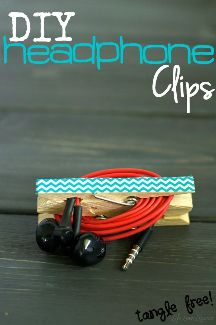 DIY Headphone Clips - this is an awesome life hack for those obsessed with organization!