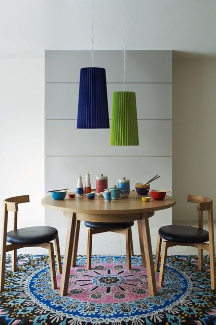 Go East Minimalist Furniture Beautiful Bright Accessories Combined With A Talking Point Rug