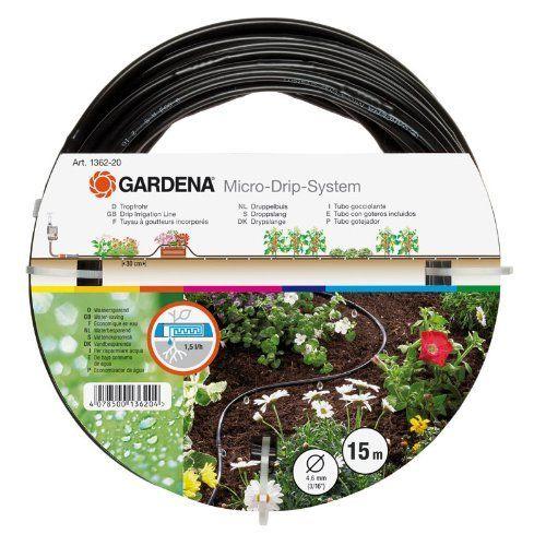 Gardena 870787 Set arrosage goutte à goutte 0,5 cm (0,1875″): Débit/goutteur : 1,5 l/h tous les 30 cm. Diamètre int. du tuyau : 4,6 mm.…