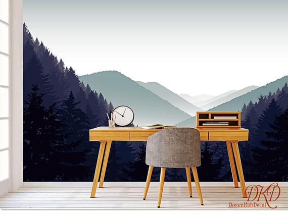 Mountain Wall Mural, Foggy Grey Mountain Landscape Wallpaper, Mountain  Silhouette Wall Covering, Peel And Stick, Removable Wall Decor Description:  A Wall ... Part 76