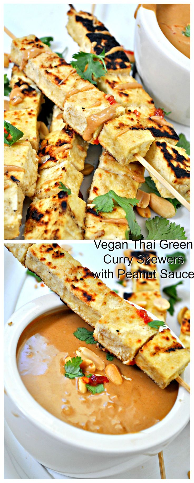 Vegan Thai Green Curry Tofu Skewers with Peanut Sauce