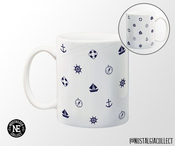 Navy Blue Sailor Patterned Coffee Mug  11 oz by NostalgiaCollect